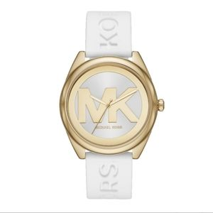 NEW Michael Kors Janelle Logo Watch Silicone Strap